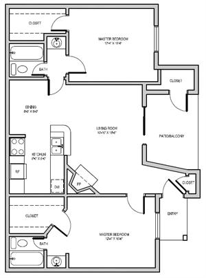 915 sq. ft. floor plan