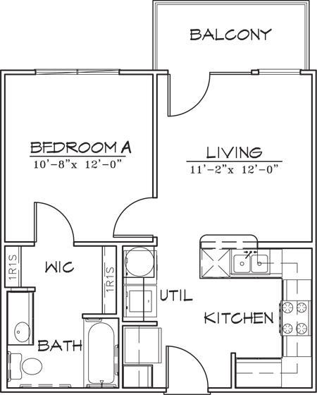 521 sq. ft. floor plan
