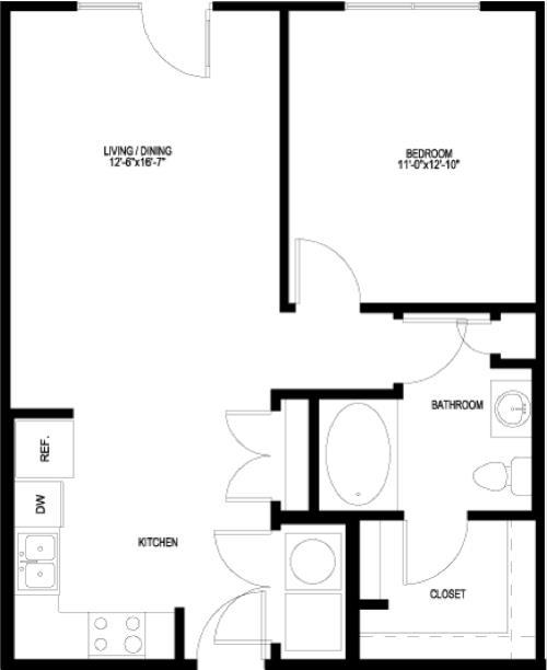 698 sq. ft. A1-C-II floor plan