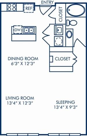 730 sq. ft. II/A1A floor plan