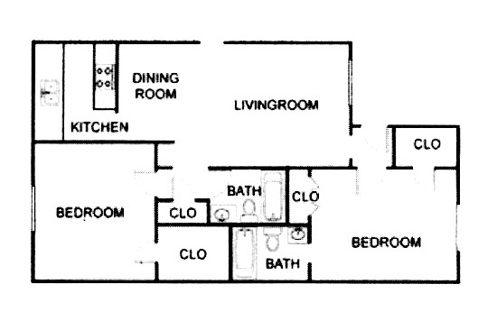 1,020 sq. ft. B3 floor plan