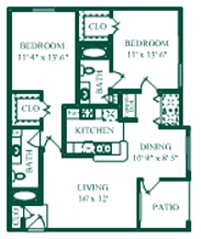 1,040 sq. ft. Monoco/B1 floor plan