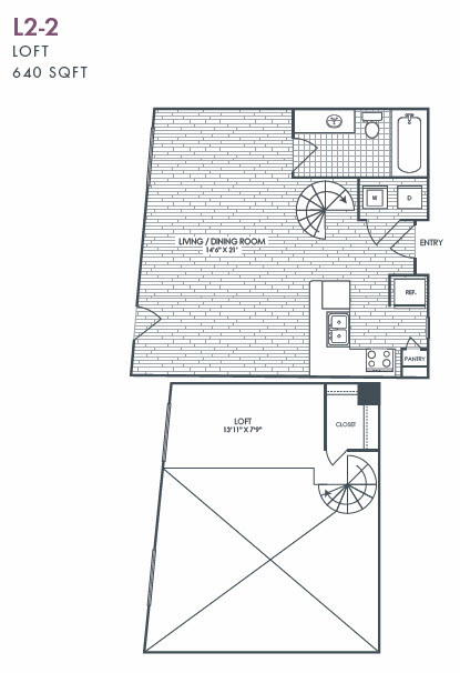 640 sq. ft. L2-2 floor plan