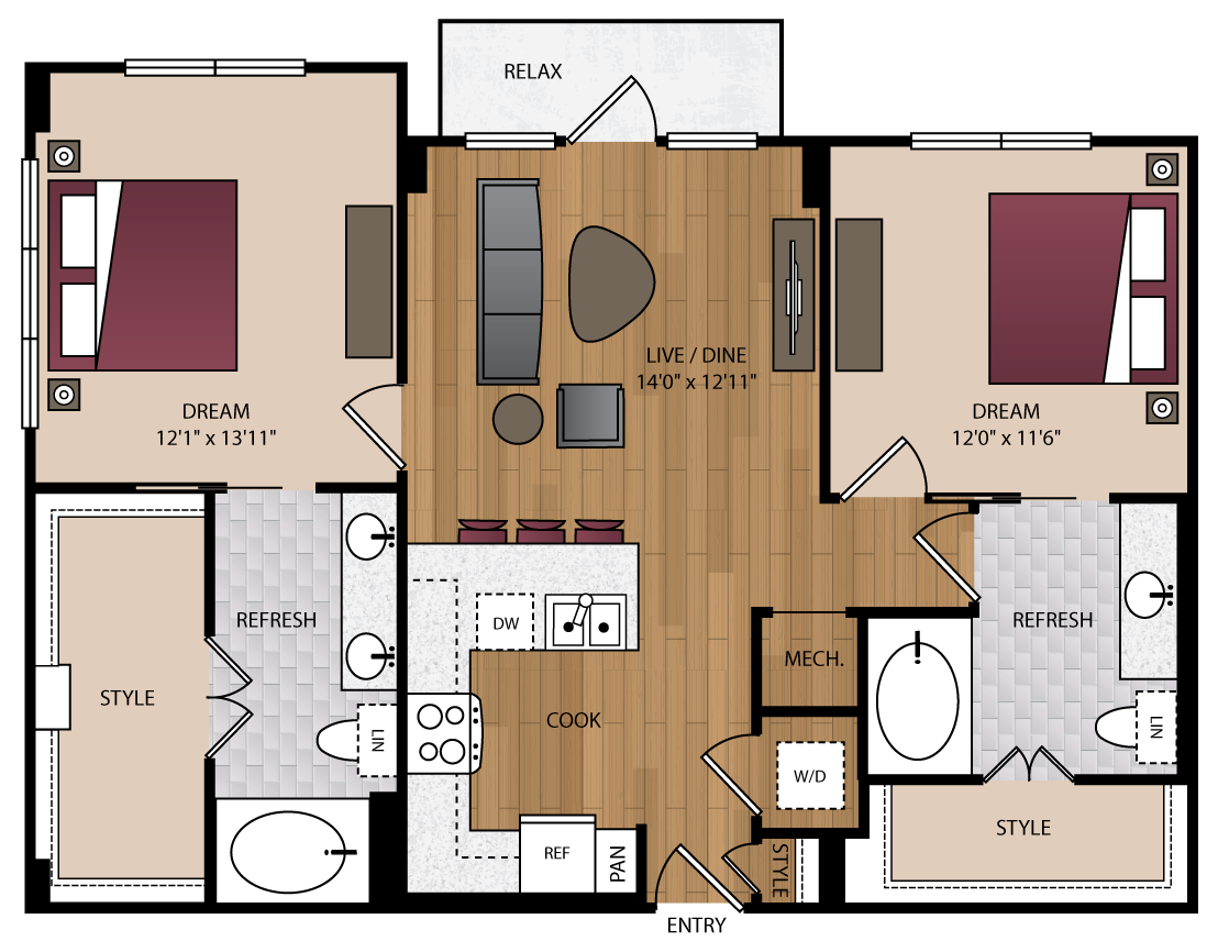 1,075 sq. ft. P-B2.1 floor plan