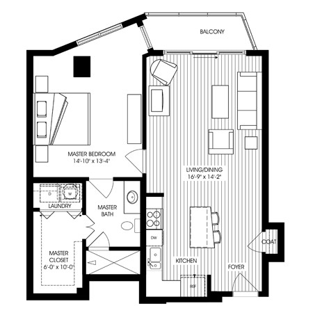 889 sq. ft. A21 floor plan