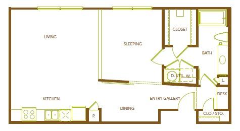 827 sq. ft. A10 floor plan