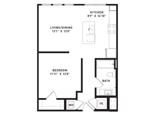 671 sq. ft. A0Alt floor plan