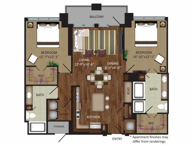 1,326 sq. ft. B5 floor plan