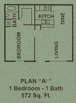 572 sq. ft. A1 floor plan