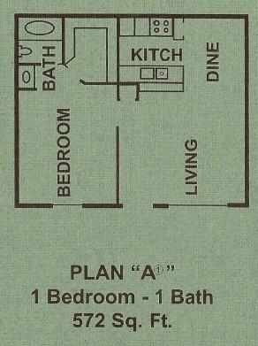 572 sq. ft. A1 floor plan