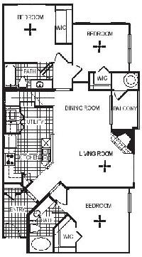 1,479 sq. ft. C3L floor plan