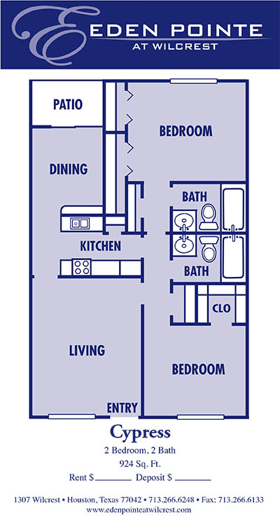 924 sq. ft. B-Sycamore floor plan