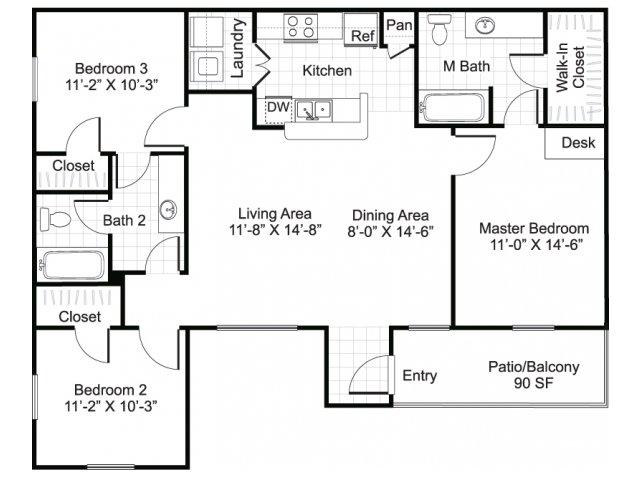 1,150 sq. ft. MIA floor plan
