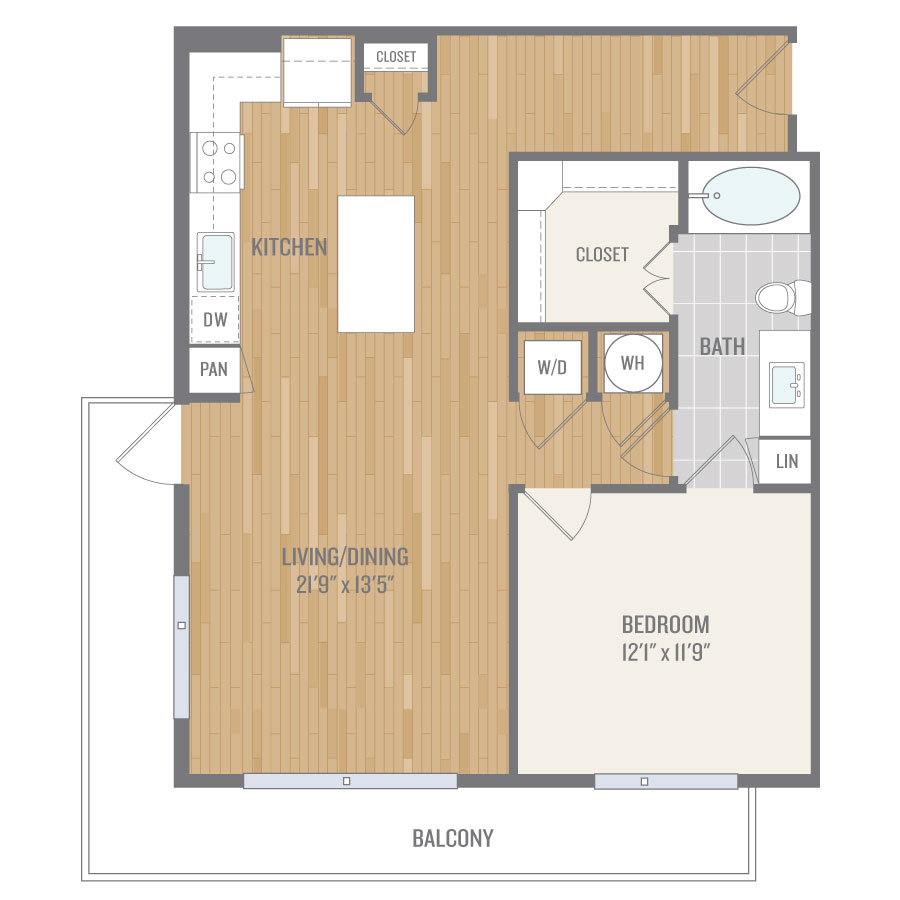 828 sq. ft. A9 floor plan