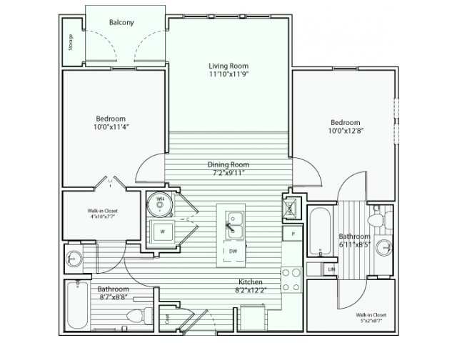 914 sq. ft. B1 60% floor plan