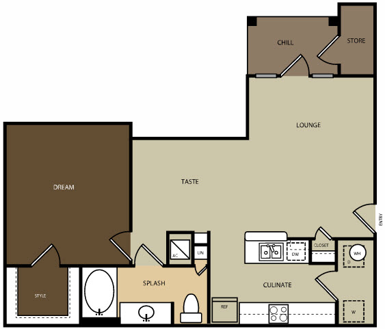 800 sq. ft. A3H floor plan