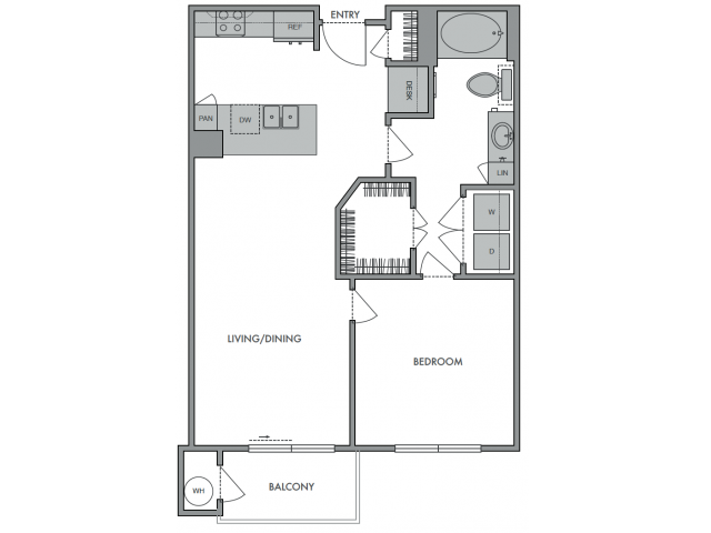 714 sq. ft. B floor plan