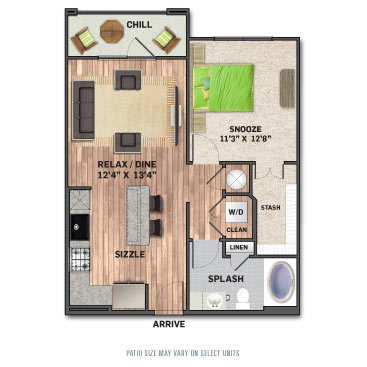 685 sq. ft. A1.1 floor plan