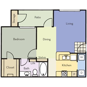 658 sq. ft. A1 floor plan