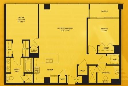1,219 sq. ft. E floor plan