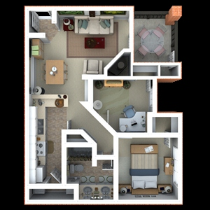 912 sq. ft. B3 floor plan