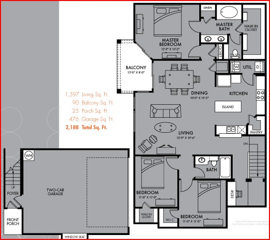 1,597 sq. ft. Nebula floor plan