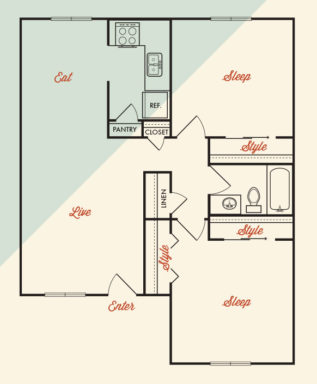 865 sq. ft. ABP-B1R floor plan