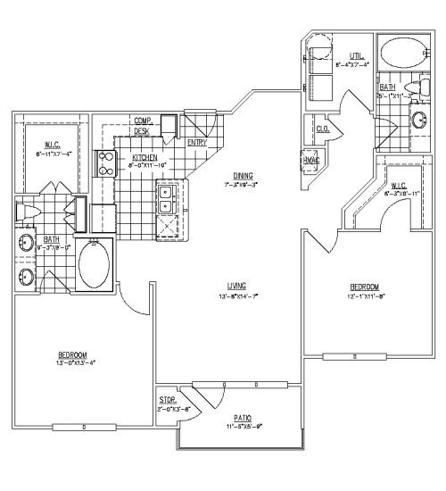 1,169 sq. ft. Rutlands II floor plan