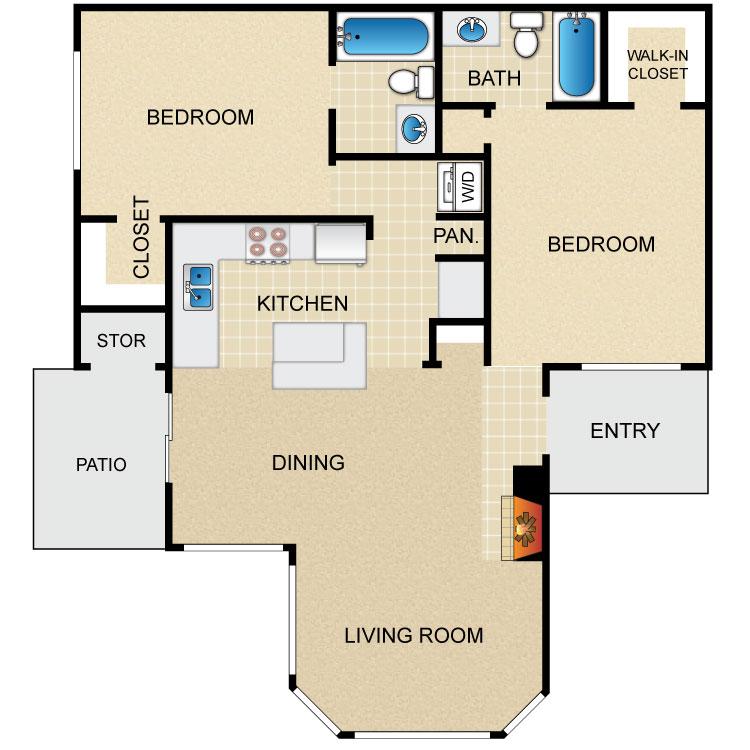 1,000 sq. ft. B2L floor plan