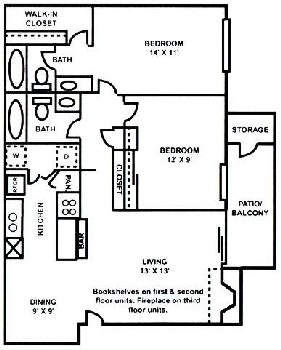 930 sq. ft. B-2 floor plan