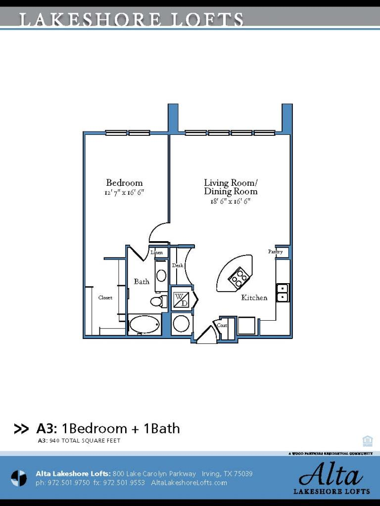 940 sq. ft. A3 floor plan