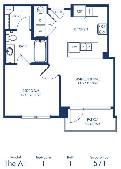 571 sq. ft. A1 floor plan