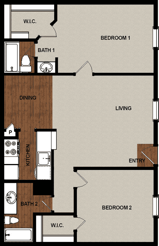973 sq. ft. E floor plan