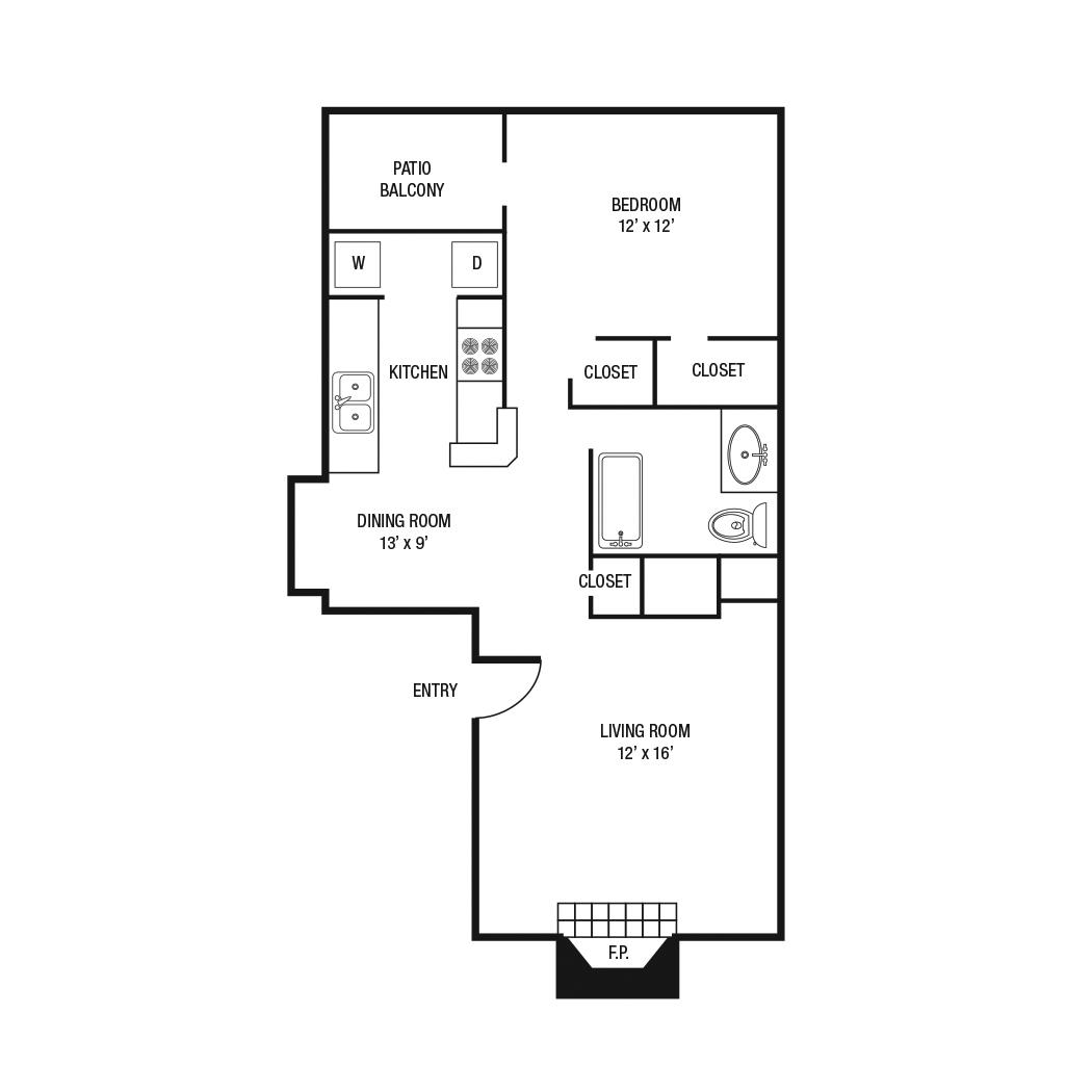 788 sq. ft. A-3 floor plan
