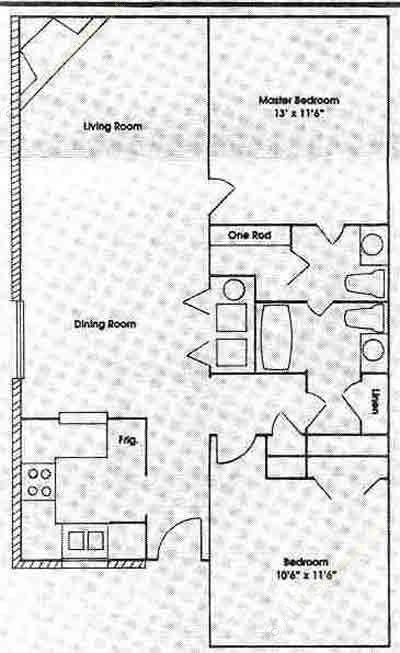 1,100 sq. ft. 2C floor plan