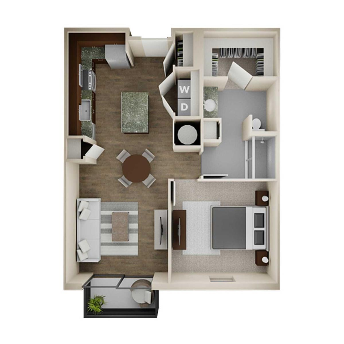 753 sq. ft. 1A floor plan