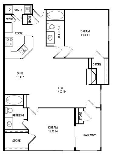1,191 sq. ft. Sand Piper floor plan
