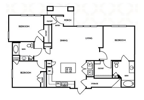 1,394 sq. ft. C1.3 floor plan