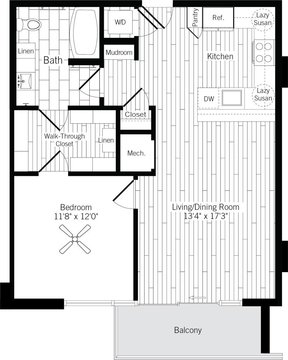787 sq. ft. 1F floor plan