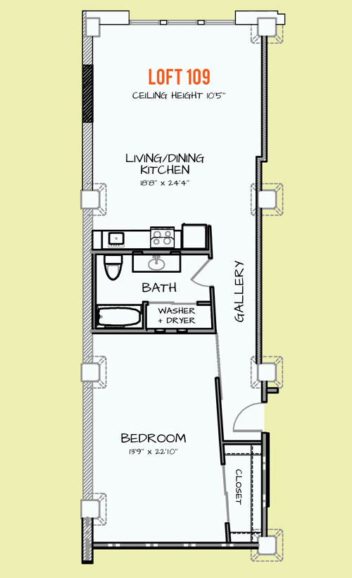 668 sq. ft. 405 floor plan