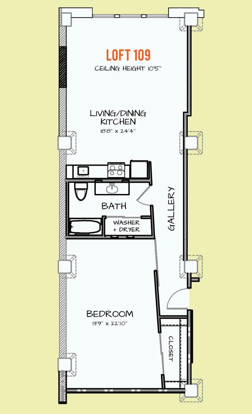 668 sq. ft. 405 floor plan