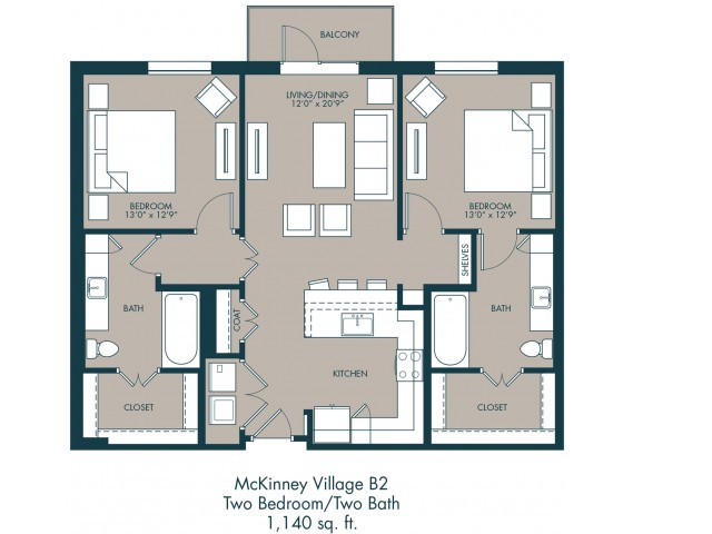 1,170 sq. ft. B2 floor plan
