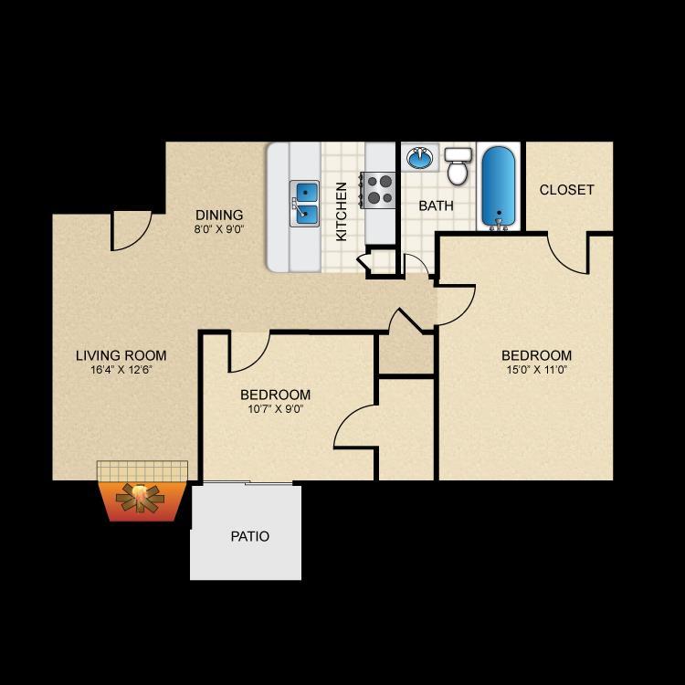 812 sq. ft. 2-1-A floor plan