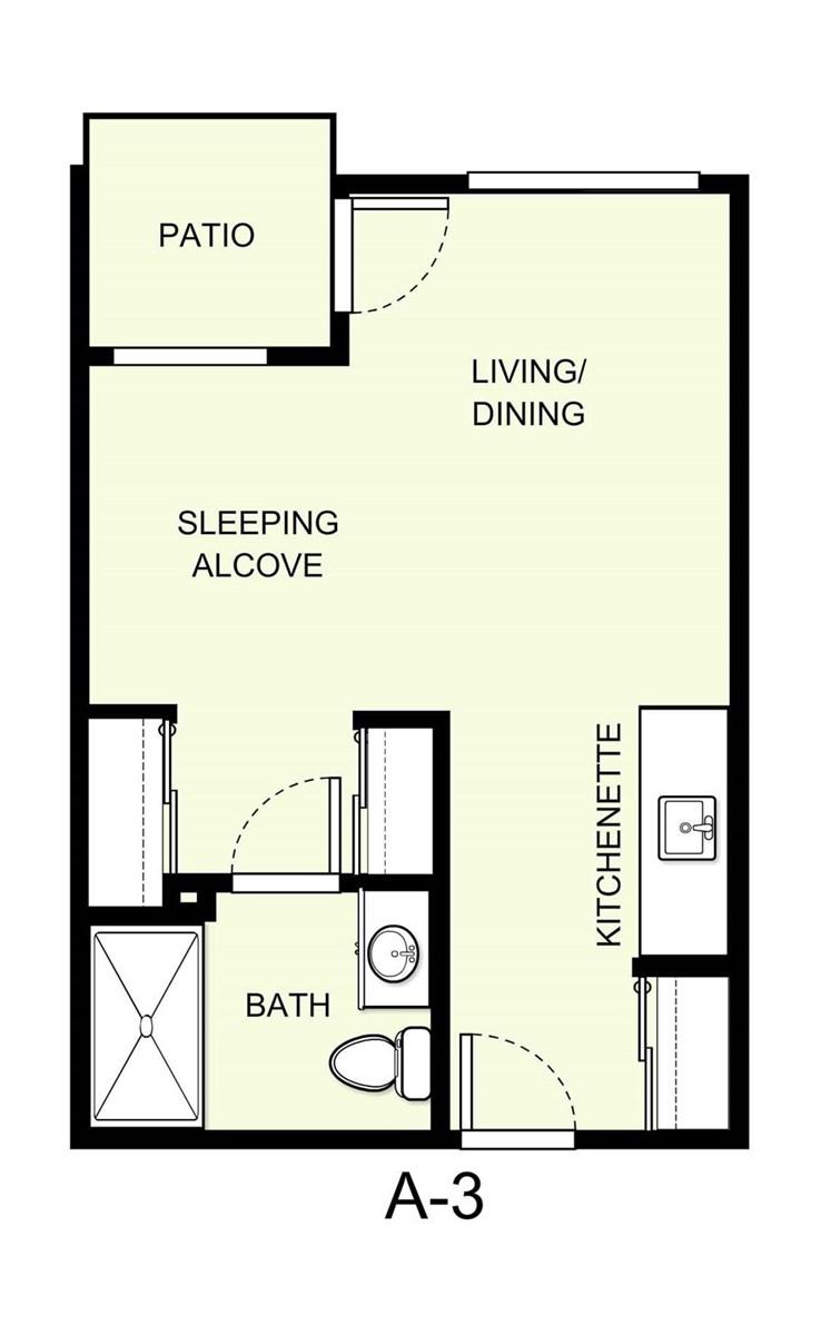 396 sq. ft. A3 floor plan