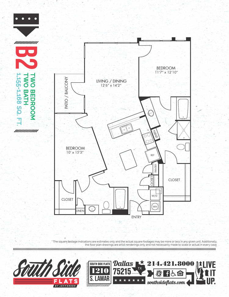 1,155 sq. ft. to 1,168 sq. ft. B2 floor plan