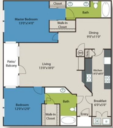 1,352 sq. ft. B2 floor plan