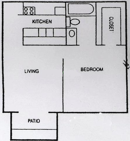 860 sq. ft. B2 floor plan