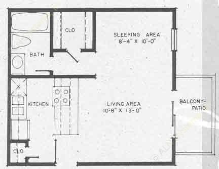 420 sq. ft. EFF floor plan