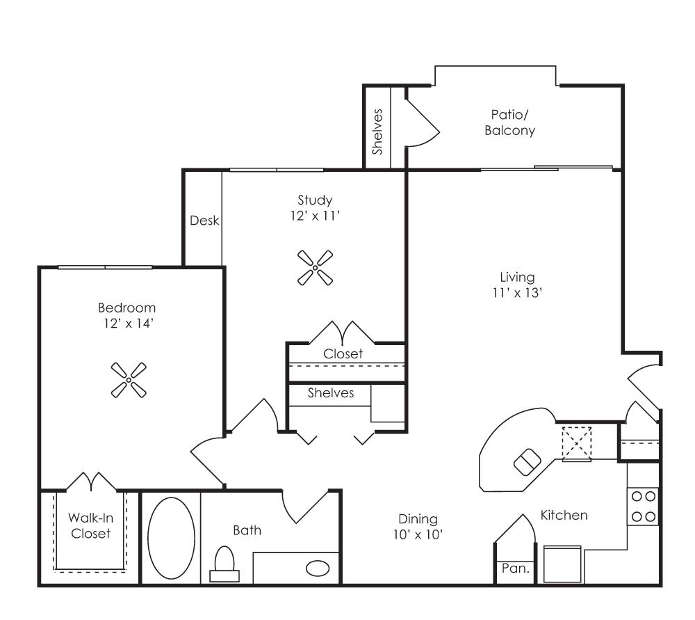 949 sq. ft. Castellon (A4) floor plan
