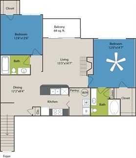 1,207 sq. ft. B3 floor plan